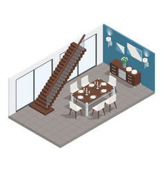 dining room isometric concept vector image vector image