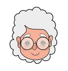 old woman face with hairstyle and glasses vector image