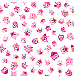 pattern with funny pink owls on white background vector image vector image