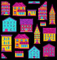 seamless flat house pattern-03 vector image vector image