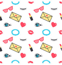 seamless pattern with colorful stickers for girls vector image vector image
