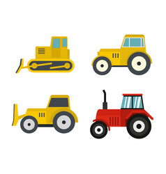 tractor icon set flat style vector image