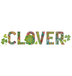 Word clover decorative zentangle object word vector
