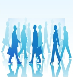 Business people in silhouette walking in different vector image