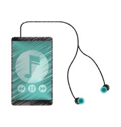 drawing smartphone music note earphones digital vector image
