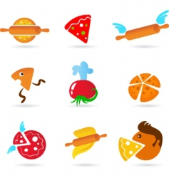 food and kitchen icons pizza set vector image vector image
