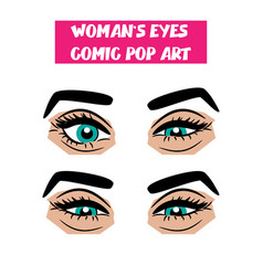 pop art cartoon comic sexy sly woman eyes vector image vector image