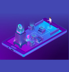 3d isometric concept with bitcoin mining vector image