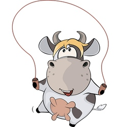 A small cow and a jump rope Cartoon vector image