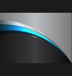 Abstract blue line curve on black gray design vector
