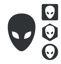Alien icon set monochrome vector image
