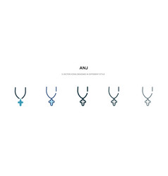 Anj icon in different style two colored vector
