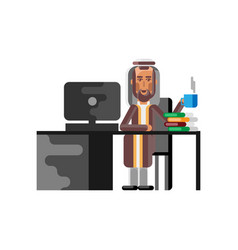 Arabic man sitting at office desk with computer vector