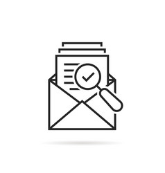 Assessment result in thin line open letter vector