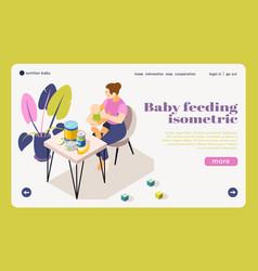 Bafeeding isometric landing page vector