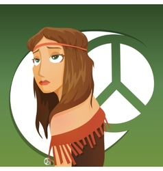 Beautiful girl of hippie vector image