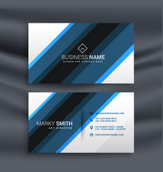 blue and white business card in diagonal lines vector image
