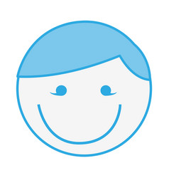 Blue round man face cartoon vector