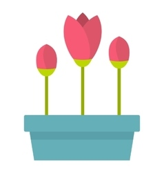 Box with flowers icon flat style vector