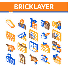 Bricklayer industry isometric icons set vector