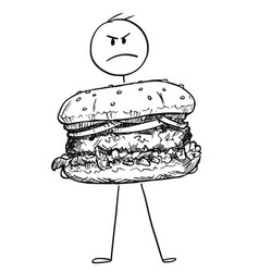 cartoon of angry man holding big burger or vector image
