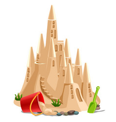 castle made of sand isolated on white background vector image