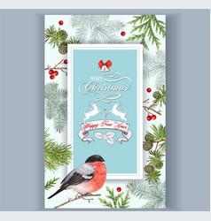 christmas bullfinch frame vector image