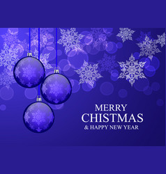christmas card with blue balloons and snowflakes vector image