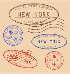 collection new york postal stamps partially vector image