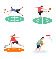 Collection of soccer cricket hockey sports pla vector