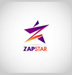 colorful zap star with letter z logo sign symbol vector image