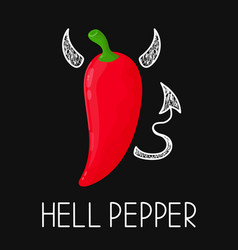 Concept angry evil hell chili pepper vector
