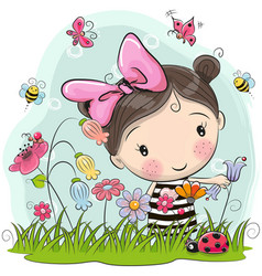 Cute cartoon girl on a meadow vector