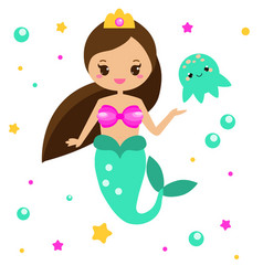 Cute mermaid with jellyfish cartoon character vector