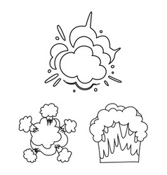 Different explosions outline icons in set vector