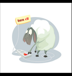 Digital funny cartoon sheep vector