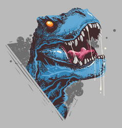 dinosaur t-rex head angry rage face artwork vector image