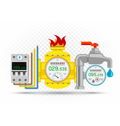 Electric gas water meter icons set vector