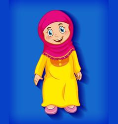 Female muslim cartoon character colour gradient vector