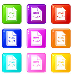 File html icons 9 set vector