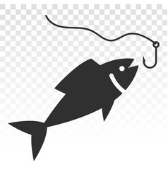 Fishing a fish with hook lure flat icon vector