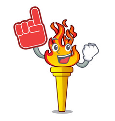 foam finger torch mascot cartoon style vector image