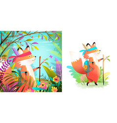 fox brave explorer in forest and isolated set vector image