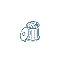 full trash isometric icon 3d line art technical vector image