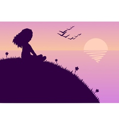 girl glazing sunset vector image
