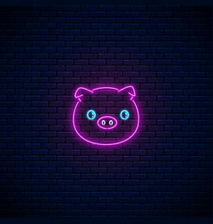 glowing neon sign of cute pig in kawaii style on vector image