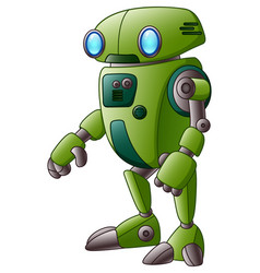 green robot cartoon character isolated on white ba vector image