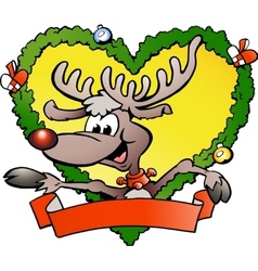 Hand-drawn of an happy christmas reindeer vector