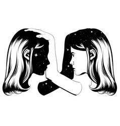 Hand drawn twins isolated vector