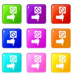 Hand showing stop signboard icons 9 set vector